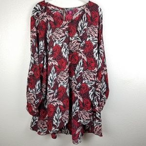 VINCE CAMUTO High Low Warm Toned Floral Blouse